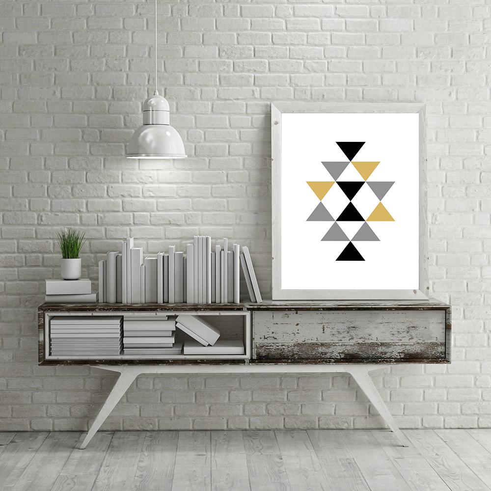 Peindre Triangle Sur Mur €4.07 27% de réduction|3 couleurs triangle toile impression peinture  abstraite forme géométrique style nordique photo mur art affiche pour la