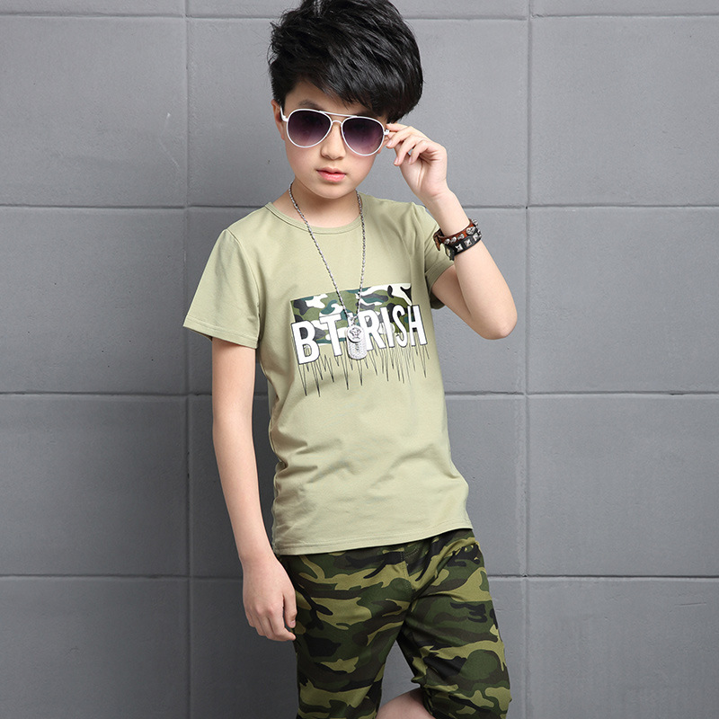 Kids Boys Short sleeved Suits for 4 14 Years Children s Cotton Casual T shirt Big