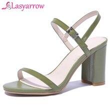 155ce4224 Lasyarrow Marca Genuína De Couro Sapatos de Mulher Saltos Robustos Sexy  Abrir Toe Gladiador das Mulheres