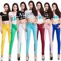 20 Cores Plus Size 2017 Nova Sexy Mulheres Calças Primavera Verão Jeans Casual Calças Lápis Lady Sexy Skinny Calças Compridas de cores Doces