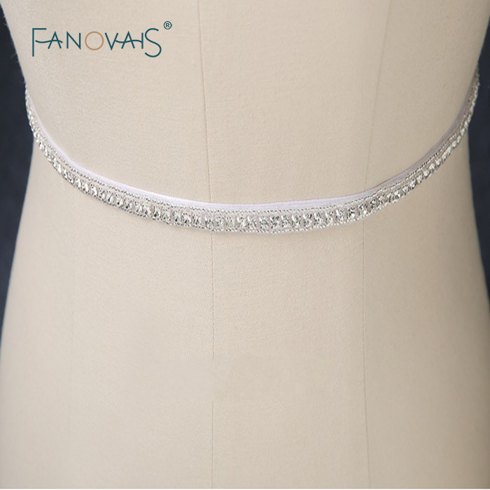 2019 New Sparkly Crystals Beaded White Bridal Belt for Wedding Dresses Rhinestone Belt wedding accessories