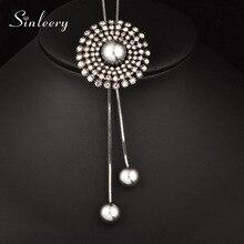 SINLEERY Vintage cubic cirkonij okrugli cvijet prilagođen privjesak dugo ogrlica sa simuliranim biser nakit za žene MY111 SSB