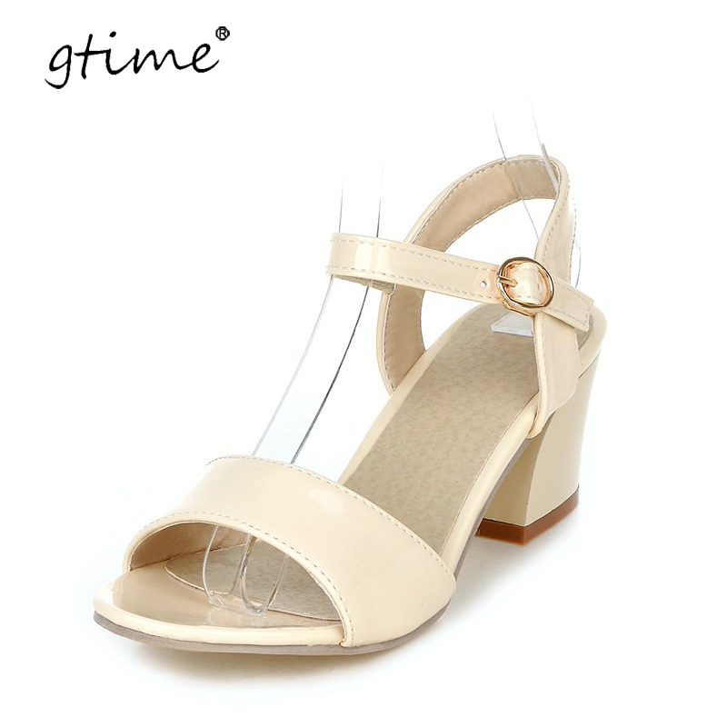 Gtime Women Sandals 2017 Summer Shoes Sandals Open Toe Ladies Chunky High Heels Sandals White Pink Green Shoes Plus Size ZWS177  ephemeral ladies zip sandals with heels buckle strap open toe summer casual shoes woman spongy insole plus size 11 12 white pink