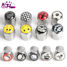 4Pcs/set New style Sliver Anti-theft Style Tire Valve Cap Cover Car-Styling Auto Accessories