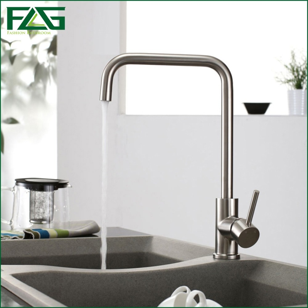 FLG Factory Direct Sale Kitchen Faucet Nickel Brushed 304 Stainless Steel,Sink Mixer 360 Degree Rotating Water Tap Kitchen CS010 newly arrived pull out kitchen faucet gold sink mixer tap 360 degree rotation torneira cozinha mixer taps kitchen tap