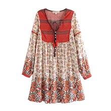 Boho Chic Лето Винтаж Цветочный Принт кружево до мини-платье с бахромой для женщин Мода 2019 г. V образным вырезом пляжные платья из вискозы vestidos mujer