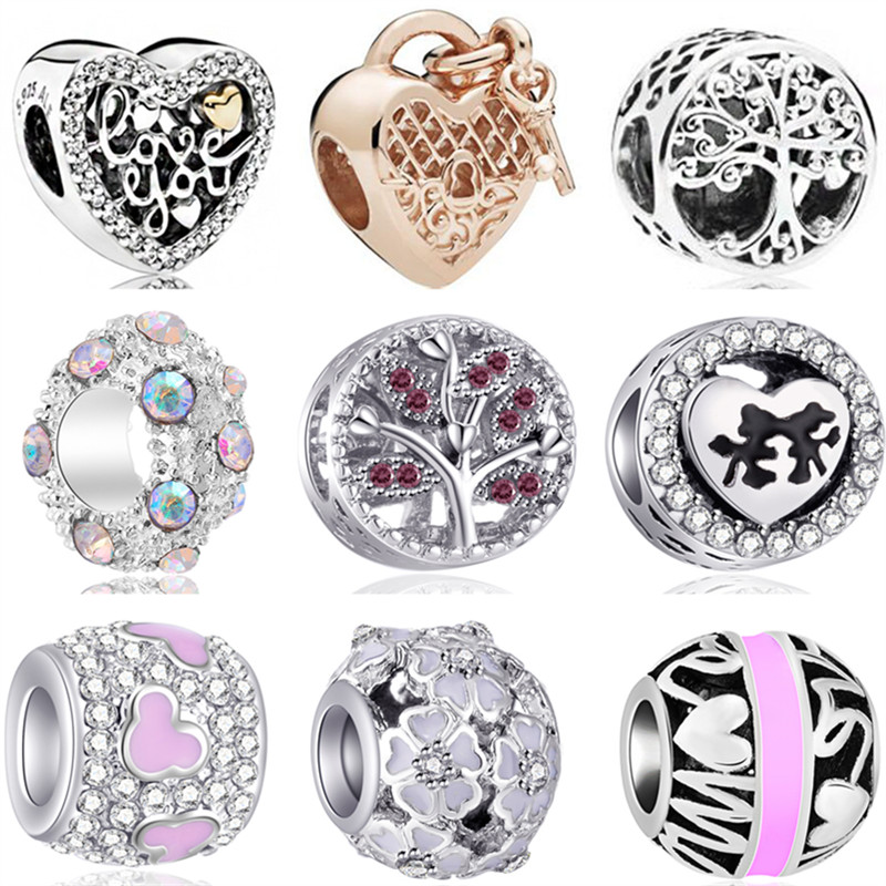 Jewelry Beads Charms Crown-Flowers Pandora Bracelets Car-Carp Mickey Mouse Enamel-Map