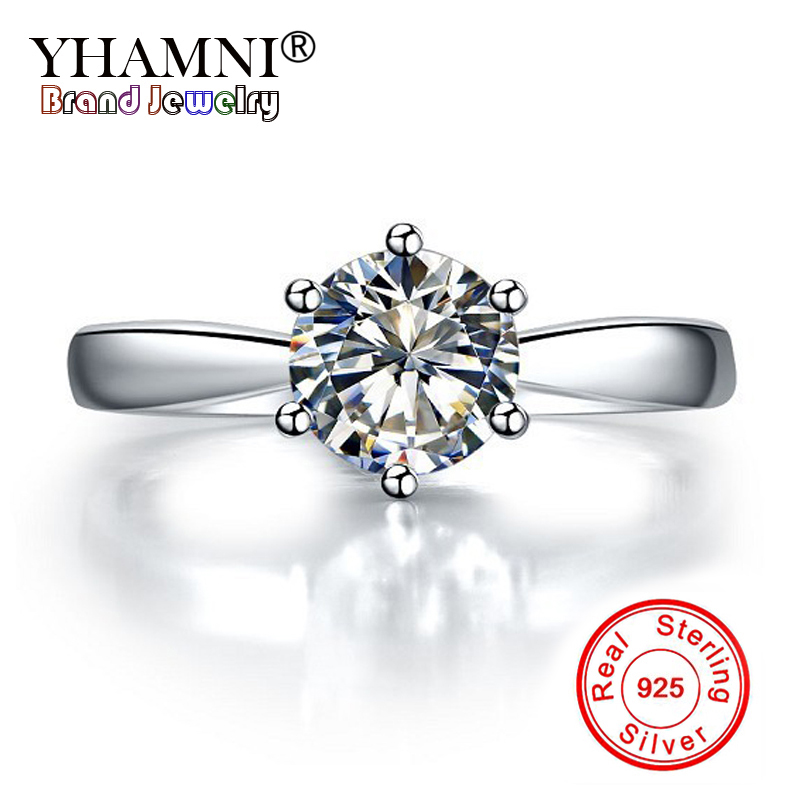 YHAMNI 100% 925 Solid Silver Rings Solitaire 1 Carat 6mm CZ Diamant Wedding Rings for Women Original Fine Jewelry Gift YNR003 big promotion 100% original 925 silver wedding rings for women natural solitaire 6mm cz diamant engagement rings jewelry rj003