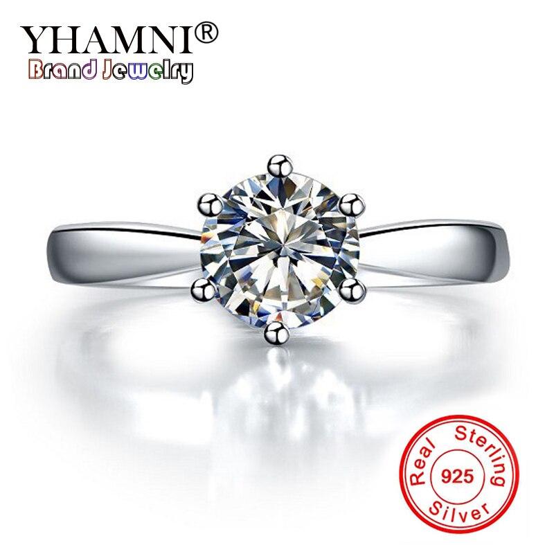 YHAMNI 100% 925 Solide Argent Anneaux Solitaire 1 Carat 6mm CZ Diamant Anneaux De Mariage pour les Femmes D'origine Fine Jewelry cadeau YNR003