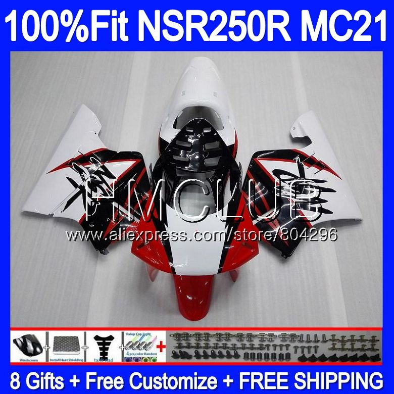Injection For HONDA <font><b>NSR</b></font> <font><b>250</b></font> R MC21 PGM3 NSR250R 90 91 92 93 94HM.6 NSR250 R NSR250RR Red white 1990 1991 1992 1993 Fairings image