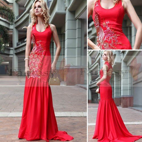 STOCK Free Shipping 2012 New fancy red maxi dress mermaid Women ...