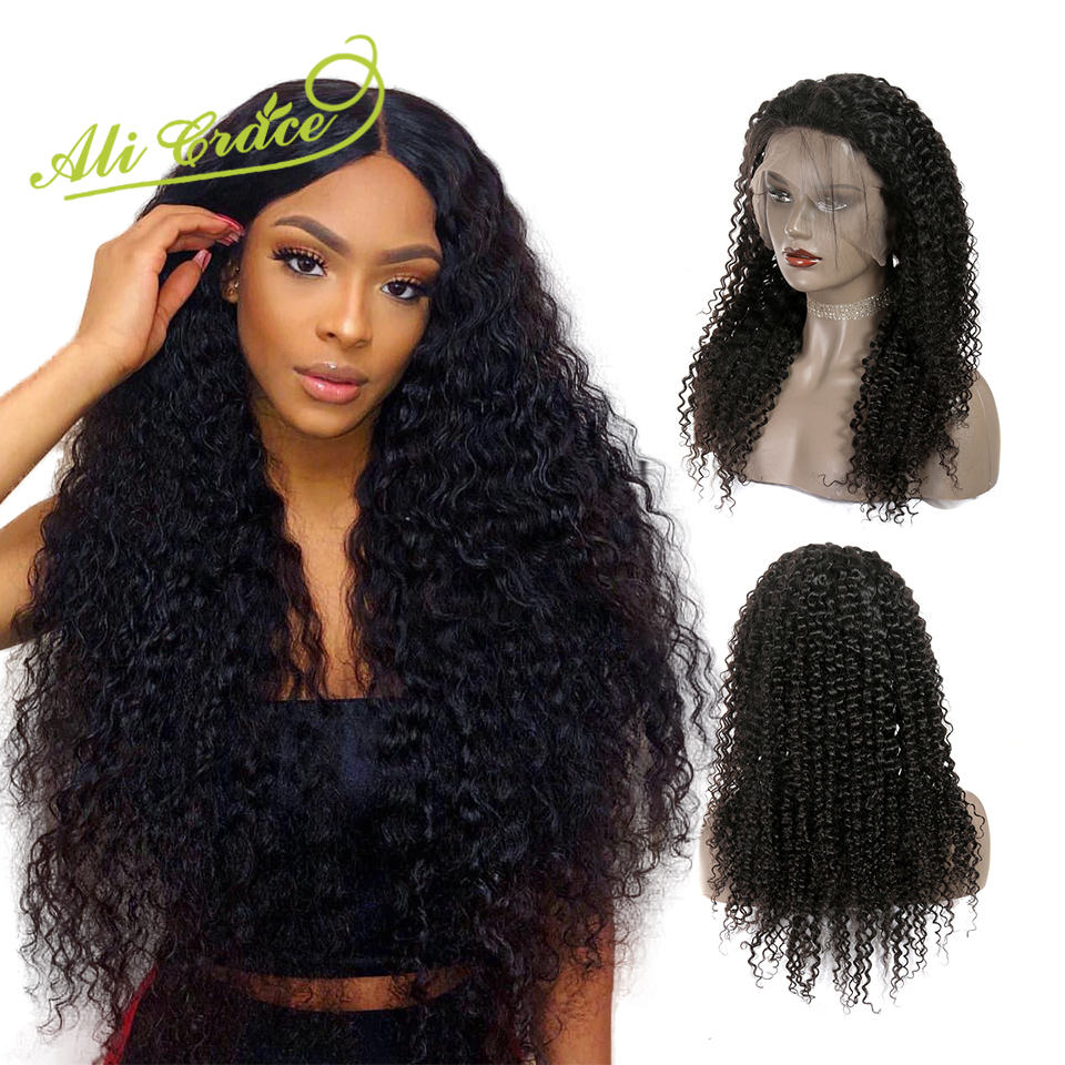 Ali Grace Human Hair Wigs Malaysian Kinky Curly 360 Lace Front Wigs Pre Plucked 250 Density