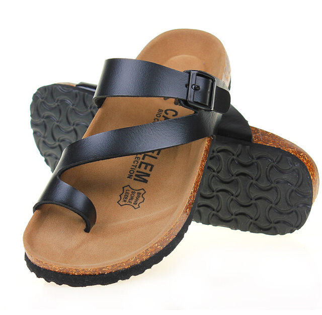 de2f3ad4d76 CAFFBELEM new 2016 lovers slippers women sandal Cork flip flops men s flat  sandals soft leather casual beach shoes