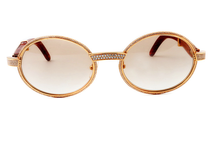Cartier 55-22 Full Diamond Red Wood Gold Frame Brown Round Lens (2)