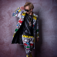 Custom Stage Costume Singer Dancer DJ Clothes Men Fashion Hip Hop Long Casual Blazer Suit Jacket Male Overcoat