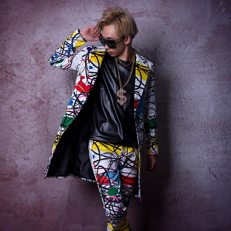 Beminnelijk Custom Stage Kostuum Zanger Danser Dj Kleding Mannen Mode Hip Hop Lange Casual Blazer Jasje Mannelijke Overjas