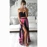 2017 HANYIGE New Arrival Women Sexy Robe CLUB Wear Evening Party Plus Size Tube Boho Split