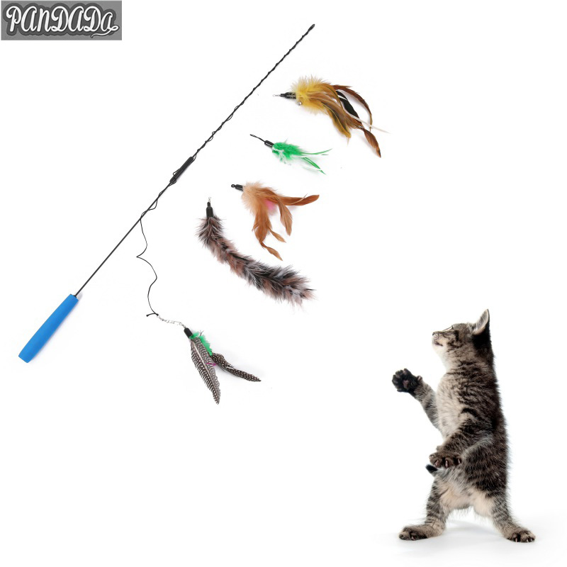 panDaDa Cat Toys Interactive Feather Wire Threading Fork For Cats Chaser Thread Cutting Machines