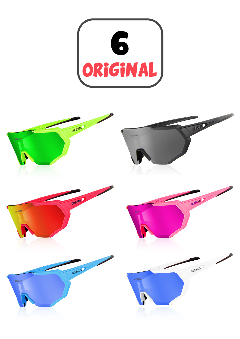 QUESHARK 2019 New Design Polarized Cycling Glasses For Man Women Bike Eyewear Cy