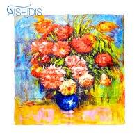Mohekann Women S 100 Luxury Charmeuse Satin Square Silk Scarf Oil Paintings Arts Wall Decoration Flower