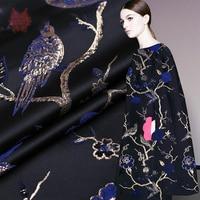American style blue gold bird jacquard brocade fabric gold thread jacquard fabric for dress coat cloth tissue Free ship SP2837