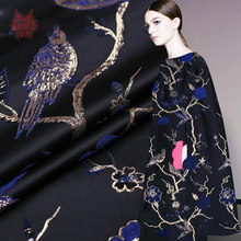 American style blue gold bird jacquard brocade fabric gold thread jacquard fabric for dress coat cloth tissue Free ship SP2837(China)