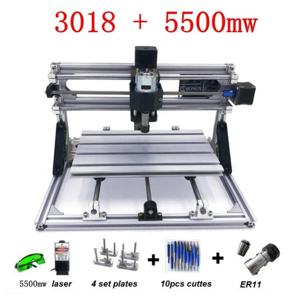 3018 + 5500 MW Laser gravure Machine Laser graveur GRBL bricolage passe-temps Machine pour bois PCB PVC Mini CNC routeur Table