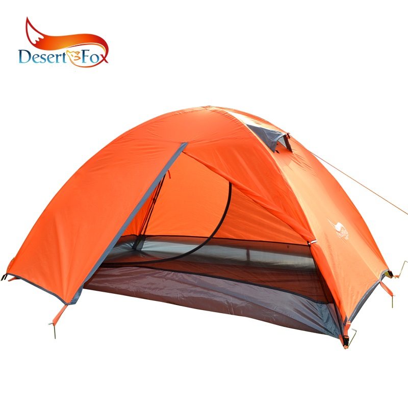 Desert&Fox Backpacking Tent 2 Person Double Layer Camping Tent, 4 Seasons Waterproof Breathable Lightweight Portable Travel Tent