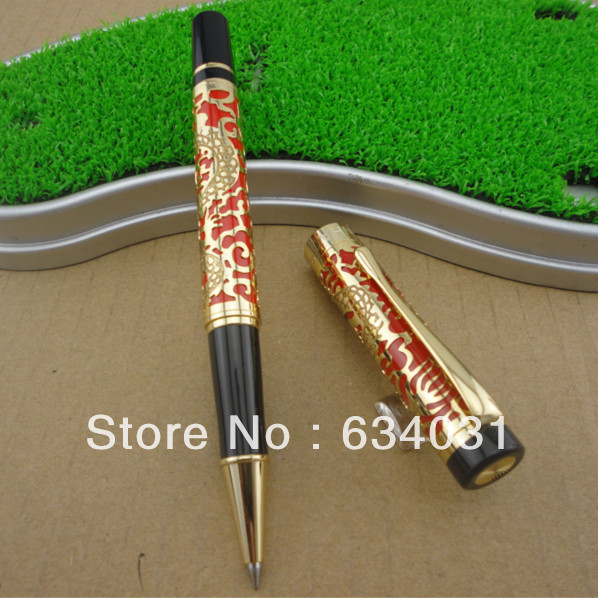 Jinhao 5000 Red And Golden Roller Ball Pen Century Dragon Embossed jinhao a200 chinese double dragons playing with the pearl beautiful advanced roller ball pen