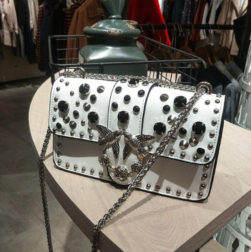 6 couleurs Paris Vogue Cristal Rivets Oiseau Perle Serrure Sac de Dame Chaude Designer En Cuir Qualité D'épaule Sac De Luxe Petit sac à rabat