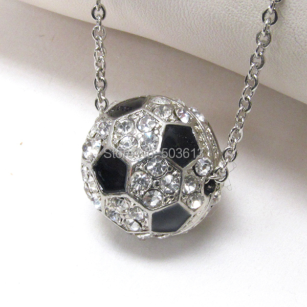 Fashion Half Ball Football Charm Alloy Sporty Enamel Soccer ball Pendant Necklace one piece xy020 collar de balon de voleibol