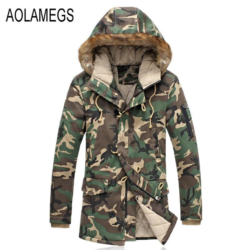 Aolamegs Camouflage Winter Parka Men Thicken Warm Fur Collar Cotton-padded Jacket Outerwear 2016 Lovers Hooded Winter Coat S-5XL мужской пуховик al men s padded jacket winter warm hooded jacket