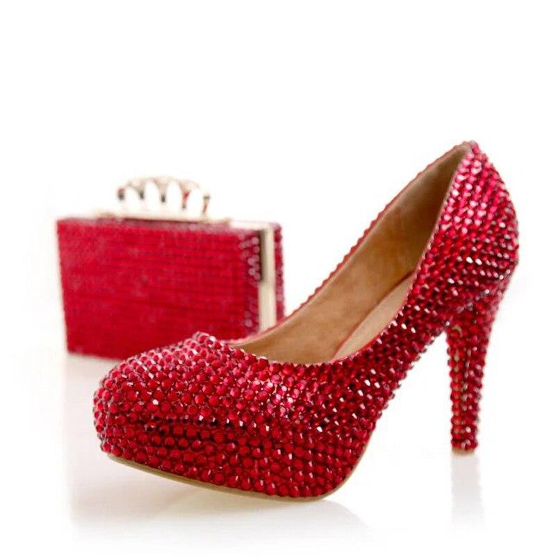 Party Rot Mode 10cm Pumpen 14cm Kleid Prom Tasche red Heels Ferse 12cm Braut Cinderella Red Hohe Strass Farbe Mit Hochzeit Schuhe Heels Passenden qIrAvw7I