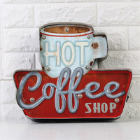 Hot Coffee Shop Vintage LED Neon Light Metal Signs Bar Pub Decorative Painting Cafe Wall Painting Home Decor Advertising Sign