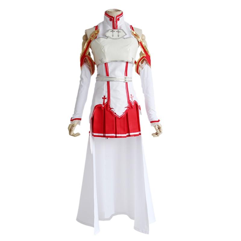 Anime Sword Art Online Cosplay Asuna Yuuki Cosplay Costume Uniform Dress For Halloween SAO Asuna Battle Suit Outfits