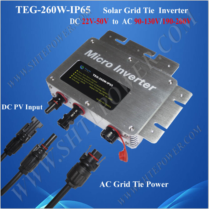 Multiple parallel stacking solar 22-50v dc waterproof inverter 260w on grid ceramic 4 piece stacking