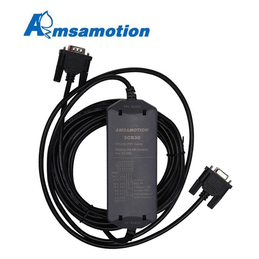 Cable de programación de PLC Amsamotion S7-200, PC-PPI + adaptador para Siemens 6ES7901-3CB30-0XA0, línea de descarga de 187,5 kbps, compatible con WIN7/XP