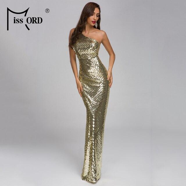 cc303025260 Missord 2019 Women Irregular Neck Off Shoulder Sequin Dresses Female Maxi  Elegant Backless Dress Vestidos FT19318