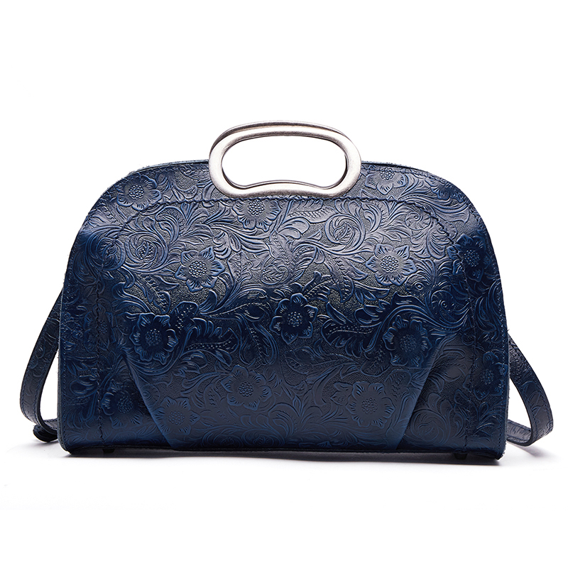 Women Top Handle Cross Body Bag Luxury Genuine Leather Vintage Embossed Ladies 100 Natural Skin Shoulder