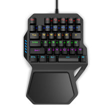 RK B30 Satu Tangan Mekanis Komputer PC Pubg Gaming Keyboard Kabel USB Rainbow Backlit Biru Switch(China)