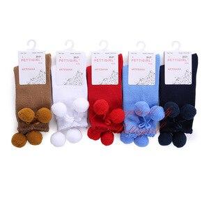 Image 3 - Pettigirl moda kız çorap bebek fırfır Pom çorap yüksek diz el yapımı sevimli çocuklar çorap butik