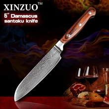 XINZUO HIGH QUALITY 5″ Japanese VG10 Damascus steel chef knife kitchen tools santoku knife with color wood handle FREE SHIIPPING