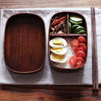 Japanese Style Bento Boxes 1 Layer 3 Grids Wood Lunch Box Portable Picnic Kids Students Food Container Kitchen Accessories|Lunch Boxes| |  -