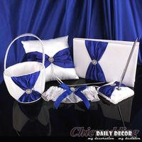 5pcs! A set of blue + white wedding party accessories suit ( ring pillow + flower basket + pen + guest book + bridal garter )