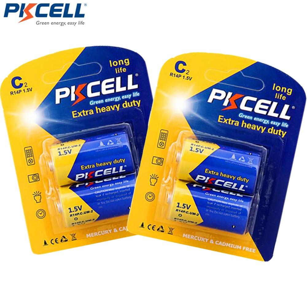 4 x PKCELL Супер сверхмощный R14P C Размер UM2 батареи 1,5 Вольт сухой элемент углеродный цинк батарея в 2 карты