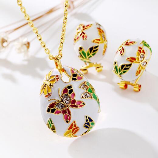 2018 Newest Chinese Style Exquisite Crystal Flower Butterfly Necklace Earrings Sets Fashion Enamel Jewelry Set Lady Gift