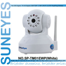 SunEyes SP-TM01EWP 720P HD Megapixel P2P Wireless IP Camera Pan/Tilt with two way audio TF Micro SD Card Slot  Free APP