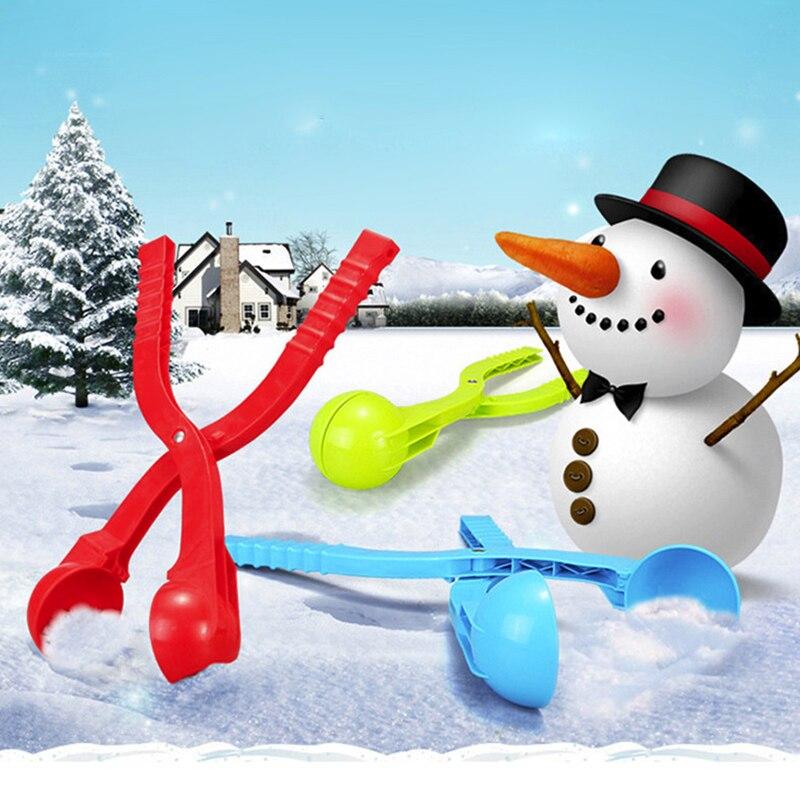 KUN BAO TOY Store  Plastic Kids Toy Lightweight Compact Snowball Fight Battle Scoop Clip Winter Snow Ball Maker Sand Mold Tool Random Color