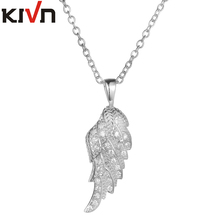 KIVN Fashion Jewelry Angel Wing Feather CZ Cubic Zirconia Womens Girls Bridal Wedding Pendant Necklaces Christmas Birthday Gifts