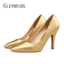 Women High Heels Brand Female Pumps Pointed Toe Thin Heels Slip On Office Lady Dress Shoes Women Solid Pumps Plus Size DE